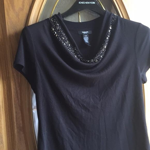 Alfani Tops - Emblished drop neckline shirtsleeve top